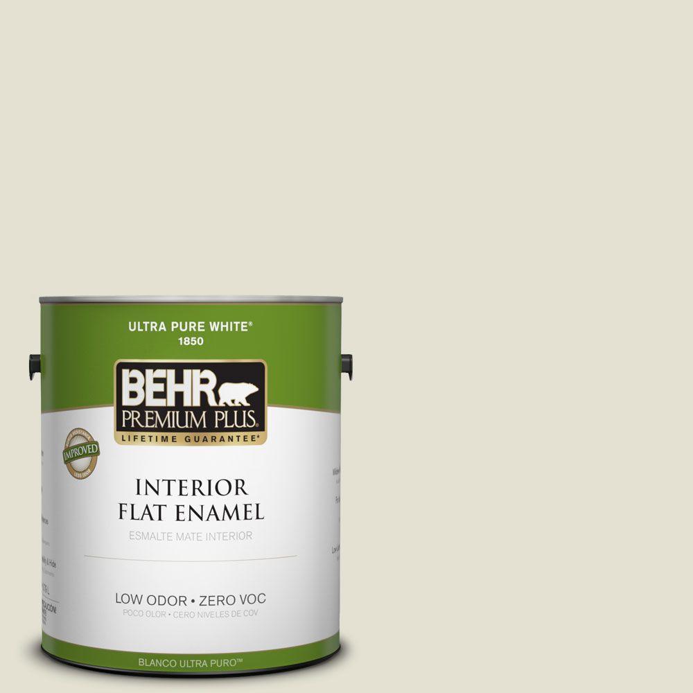 BEHR Premium Plus 1-gal. #PPF-15 Crushed Limestone Zero VOC Flat Enamel Interior Paint-DISCONTINUED