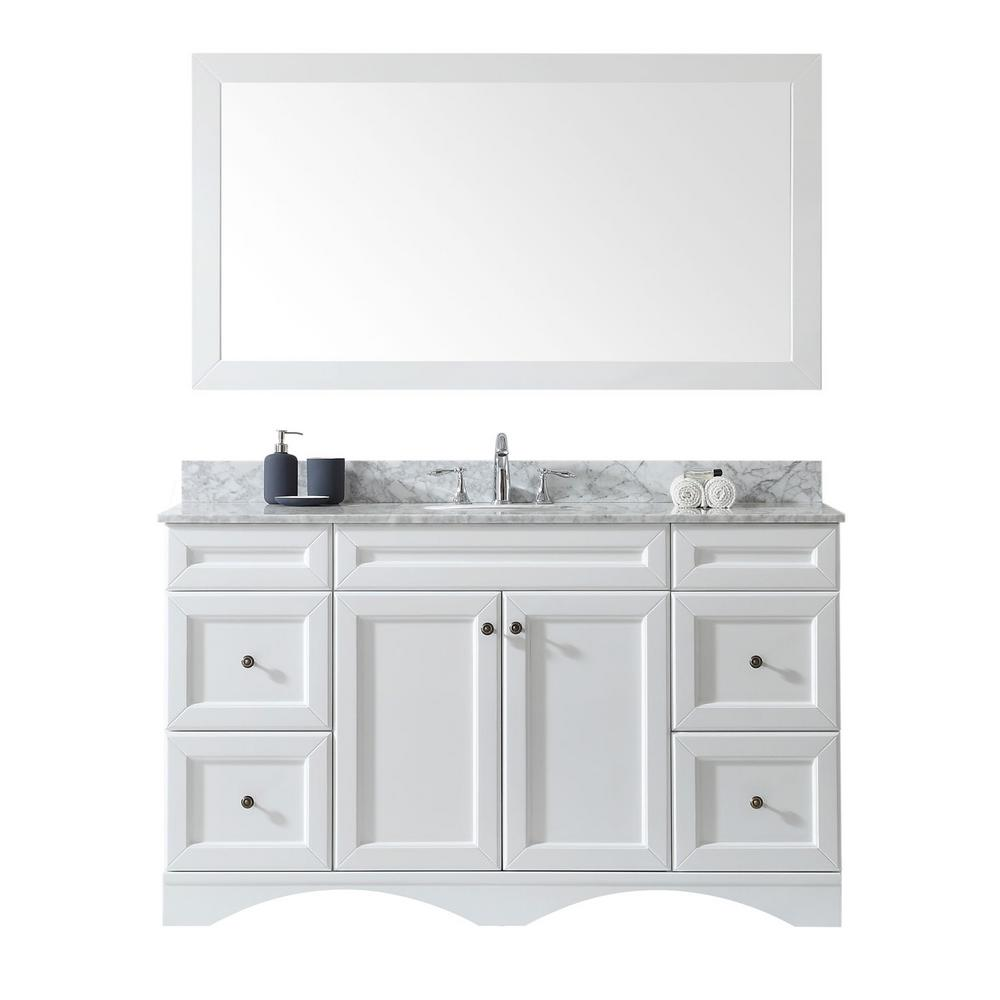 Virtu USA Talisa 60 in. W Bath Vanity in White with Marble Vanity Top in White with Round Basin and Mirror