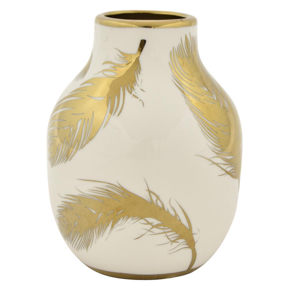 6.25 in. White and Gold Porcelain Vase