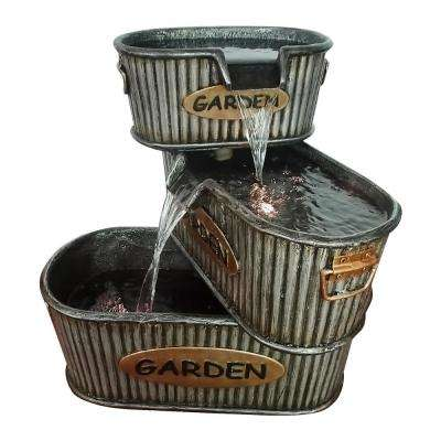 20 in. Tall Old Fashioned 3-Tier Garden Tin Fountain with LED Light