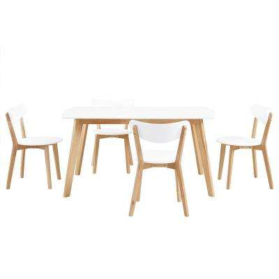 Retro Modern 5-Piece White and Natural Dining Set