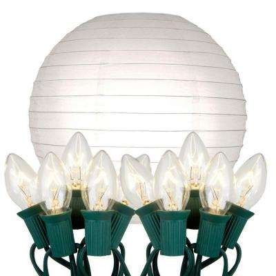 10 in. 10-Light White Paper Lantern String Lights