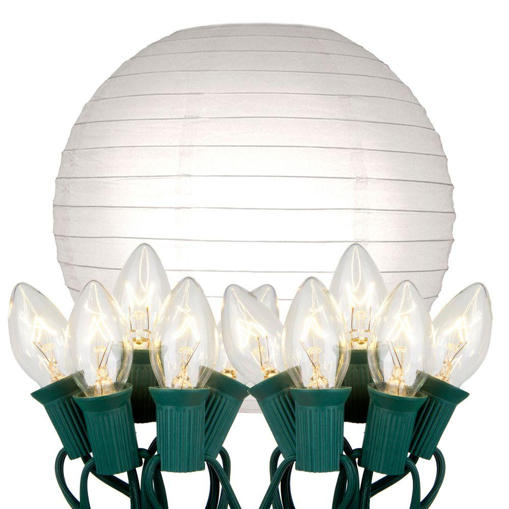 Lumabase 10 in. 10-Light White Paper Lantern String Lights