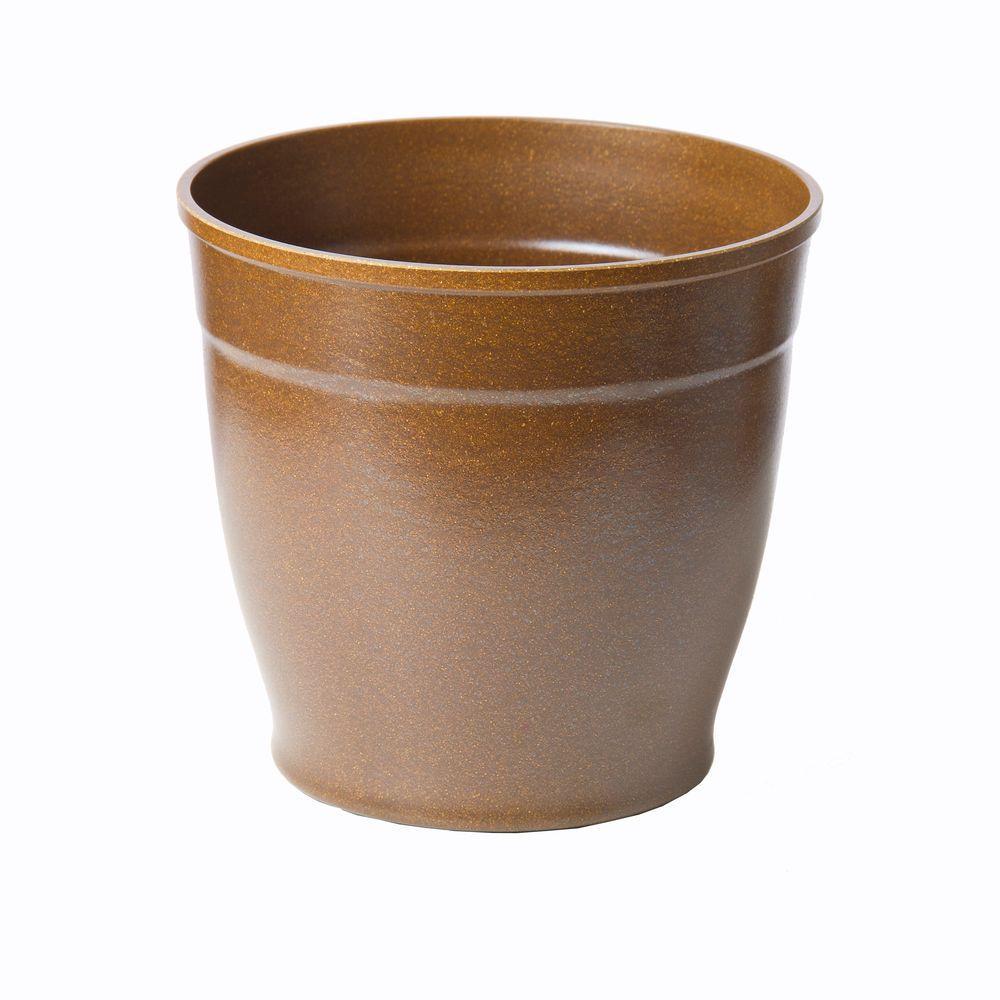 8 in. Brown Bio-Degradable Rice Hulls Patio Pot