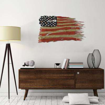 """""""Free & Brave - American Flag"""" Hand Painted Etched Metal Wall Sculpture"""