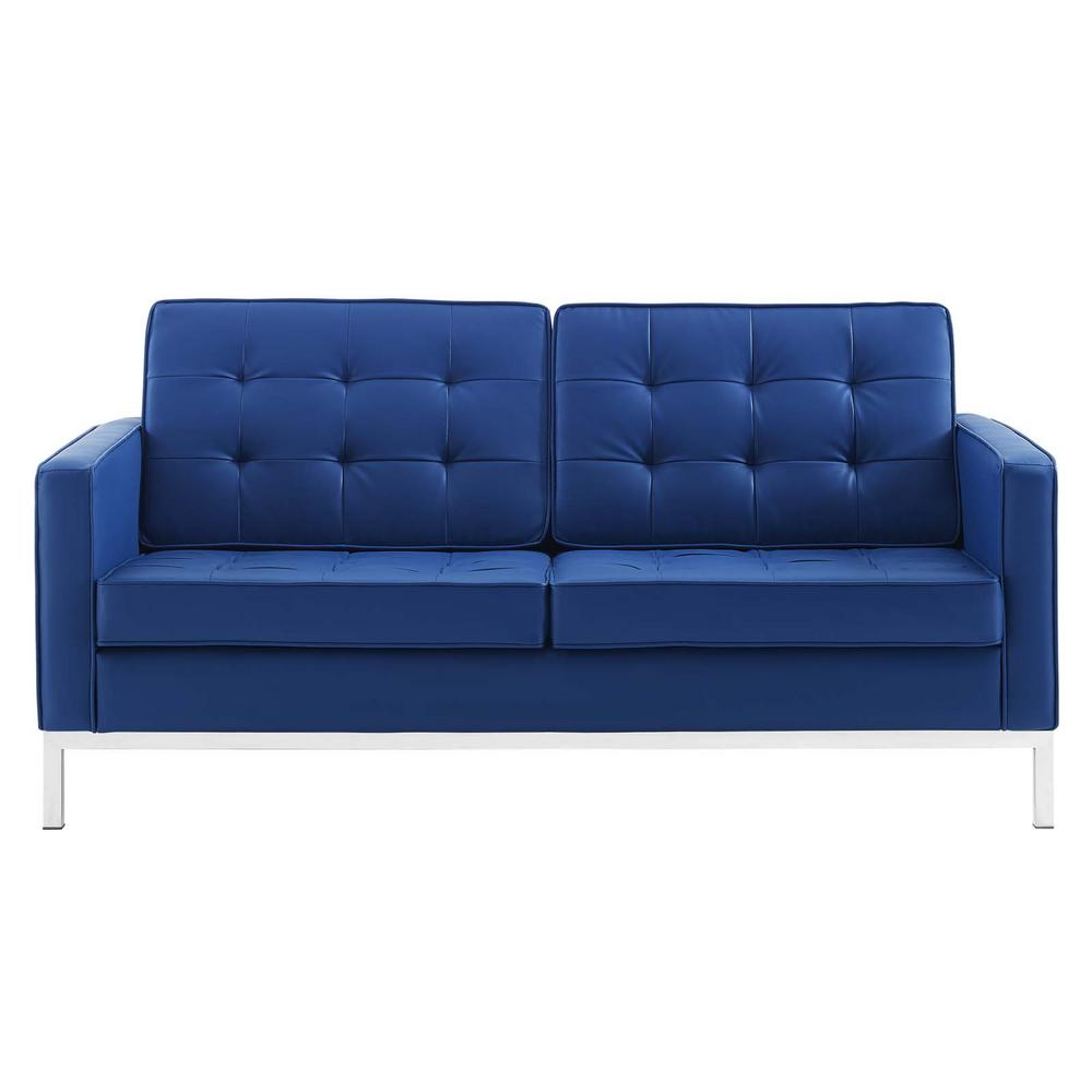 Loft Silver Navy Tufted Button Upholstered Faux Leather Loveseat