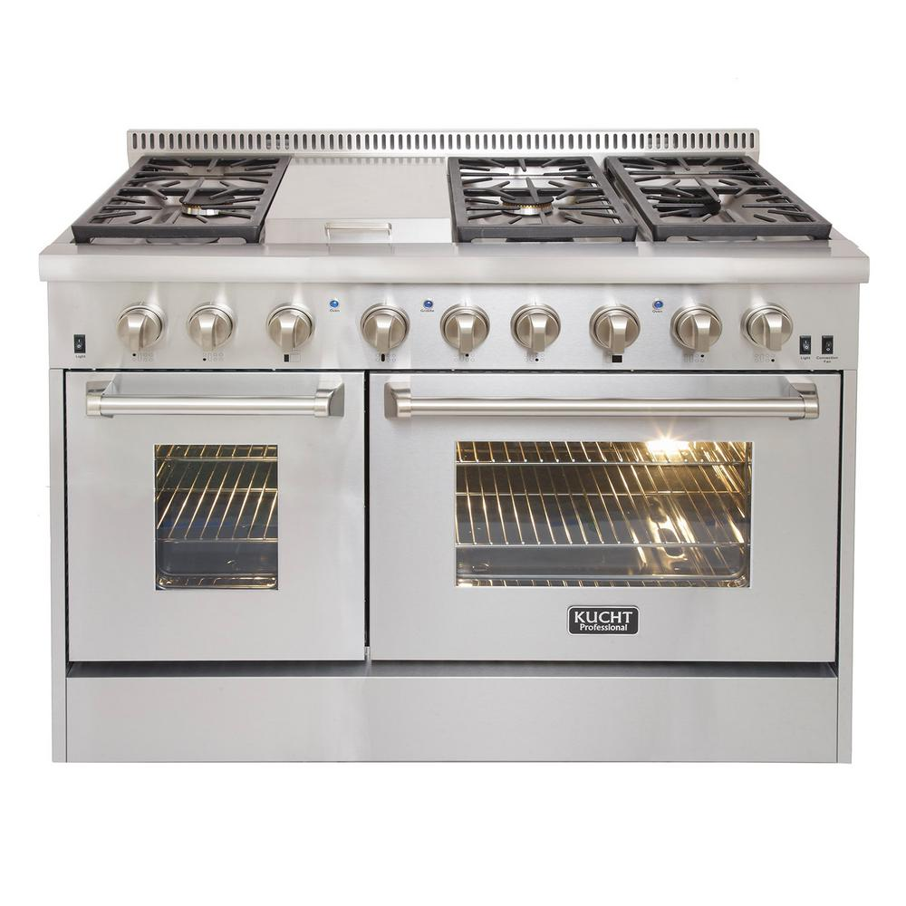 Kucht Professional 48 in. 6.7 cu. ft. Double Oven Dual Fuel Range ...