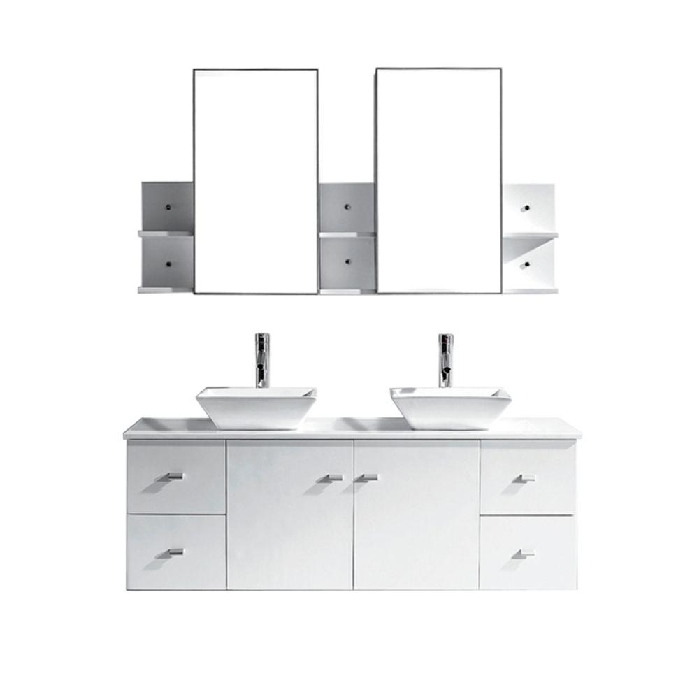 Virtu USA Clarissa 60 in. W Bath Vanity in White with Stone Vanity Top in White with Square Basin and Mirror and Faucet