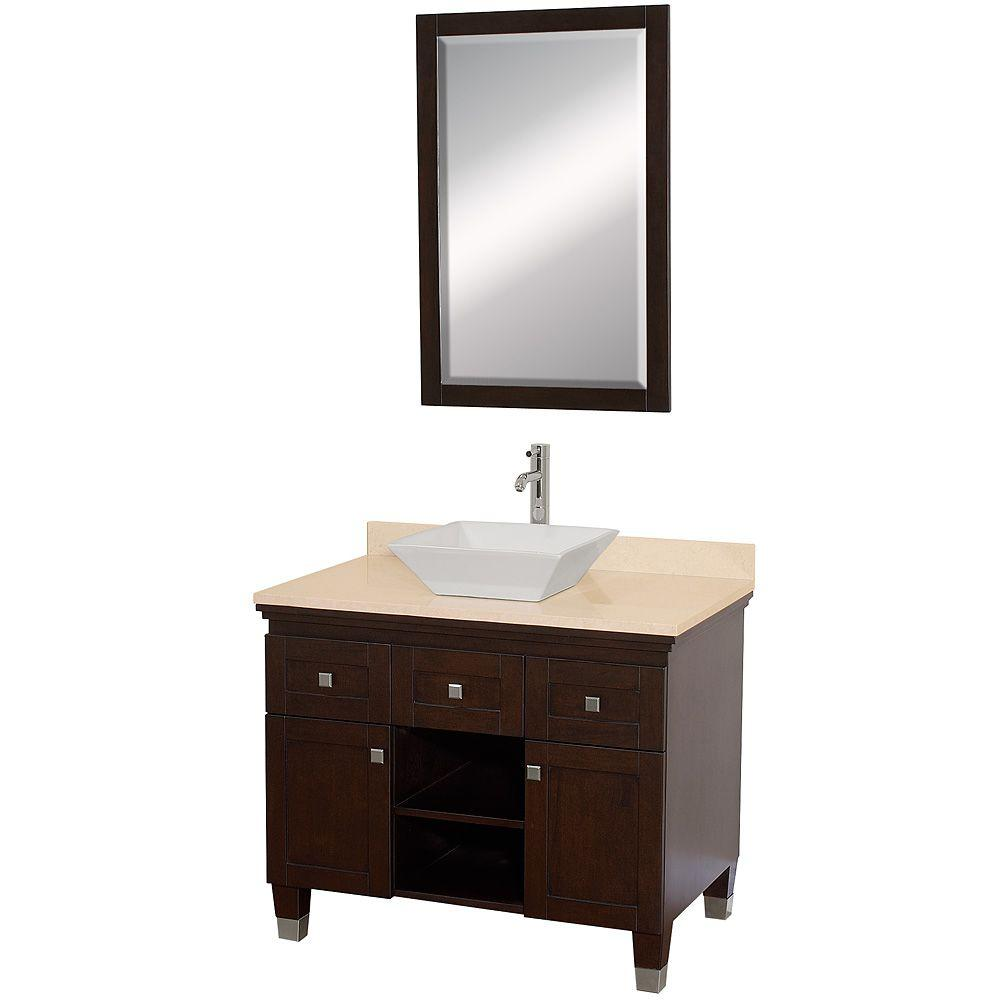 Wyndham Collection Premiere 36 in. Vanity in Espresso with Marble Vanity Top in Ivory with White Porcelain Sink and Mirror