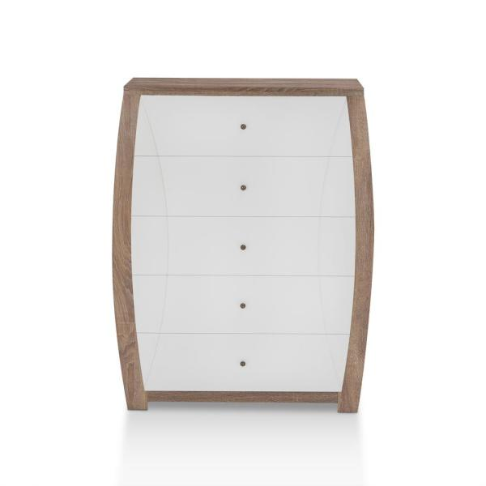 Furniture of America Dan 5-Drawer Ash Walnut and White Chest YNJ-1561C9