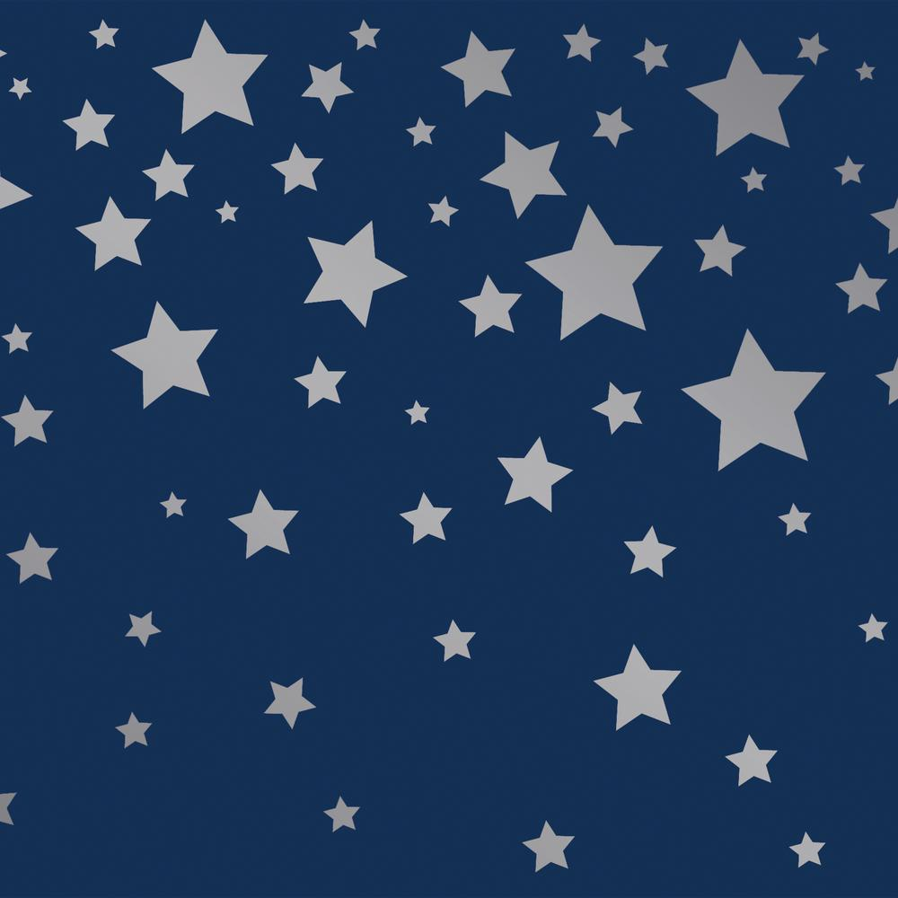 Tempaper Kids Falling Stars Navy And Metallic Silver Self Adhesive Removable Borders Stripes