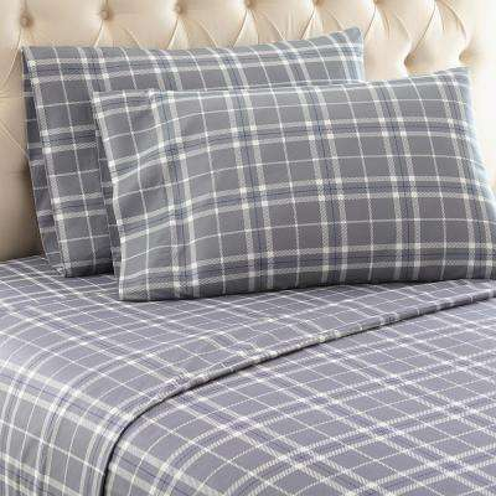 Carlton Plaid 4-Piece Gray King Polyester Sheet Set