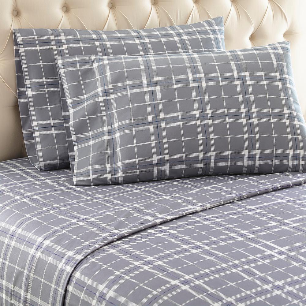 3-Piece Carlton Plaid Gray Twin Polyester Sheet Set