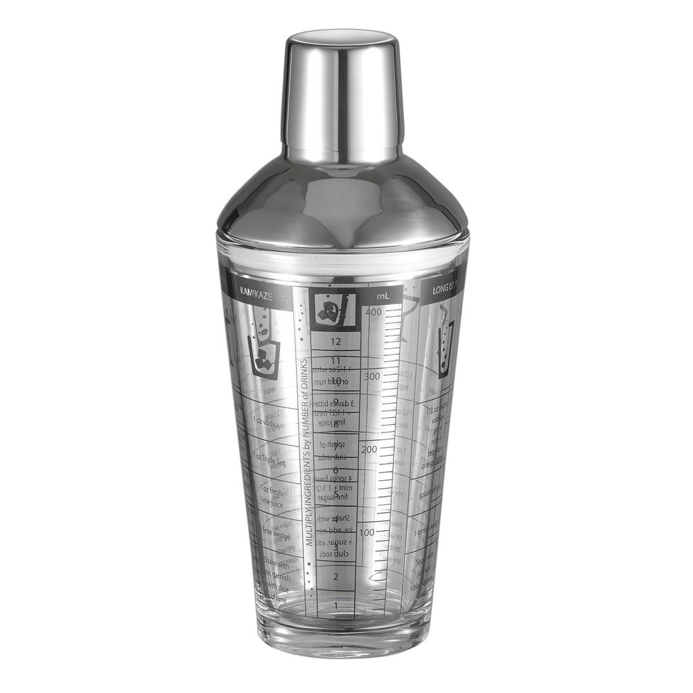 visol soiree glass 12 oz cocktail shaker with recipes vac377 the home depot. Black Bedroom Furniture Sets. Home Design Ideas