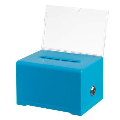 Acrylic Clear Locking Suggestion Box, Blue
