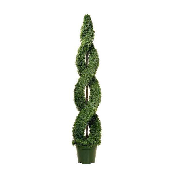 6 ft. Double Cedar Spiral Tree in 12 in. Green Round Growers Pot