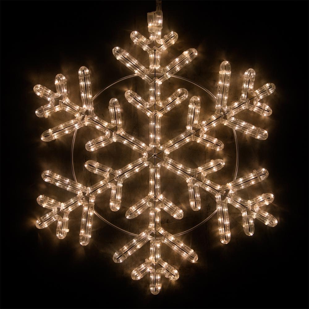 24 in. 314-Light LED Warm White Hanging Snowflake Decor