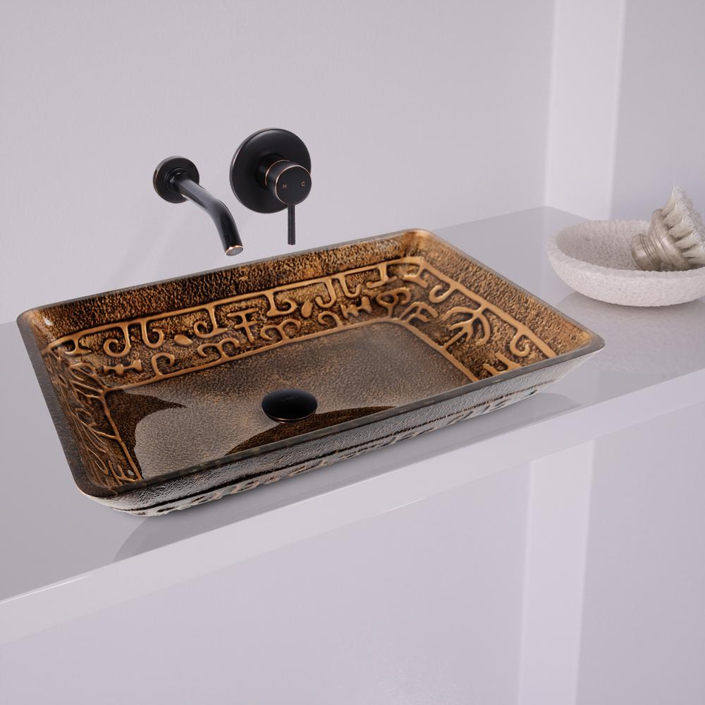 Merveilleux VIGO Rectangular Glass Vessel Sink In Golden Greek With Wall Mount Faucet  Set In Antique