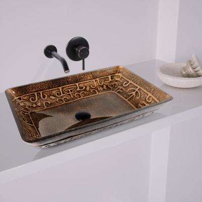 Rectangular Glass Vessel Sink in Golden Greek with Wall-Mount Faucet Set in Antique Rubbed Bronze