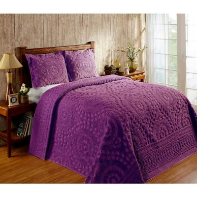 Rio Collection in Floral Design Plum King 100% Cotton Tufted Chenille Bedspread
