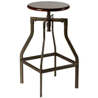 Cyprus Pewter/Distressed Cherry Adjustable Height Pewter Bar Stool