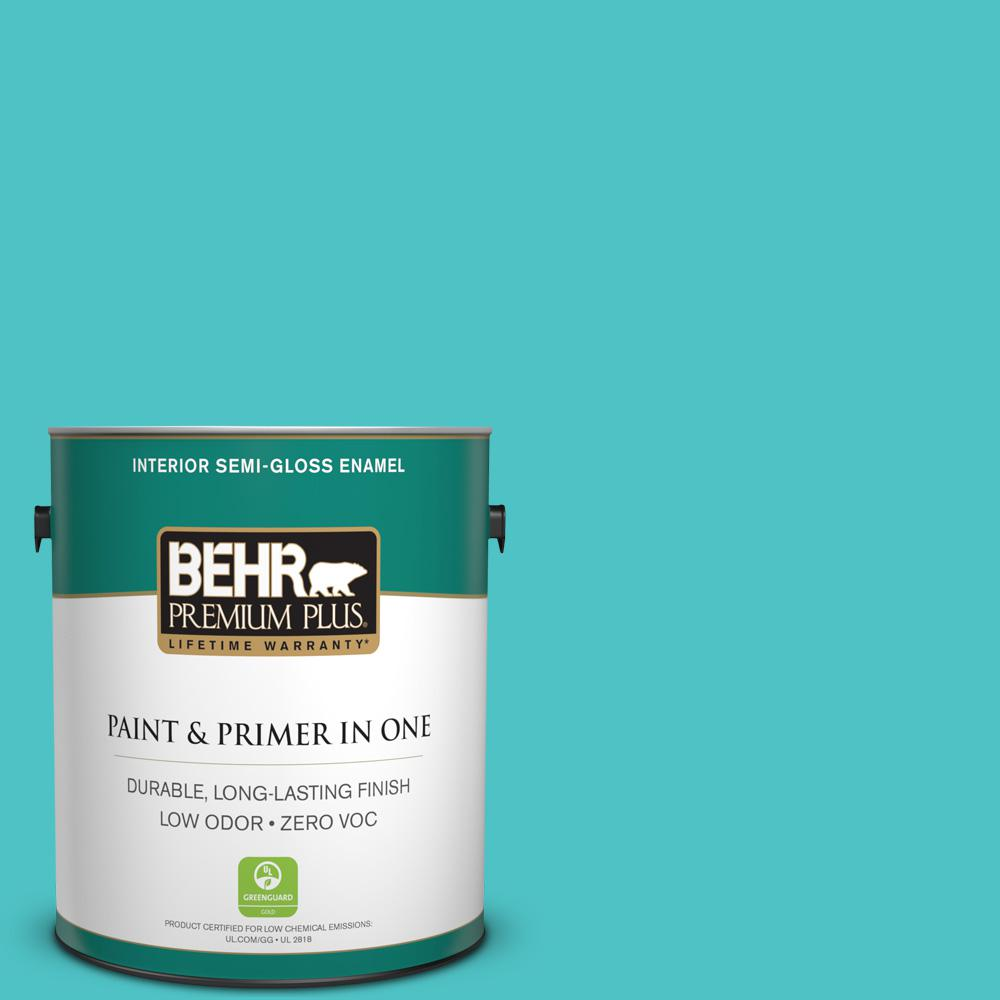 1-gal. #500B-4 Gem Turquoise Zero VOC Semi-Gloss Enamel Interior Paint