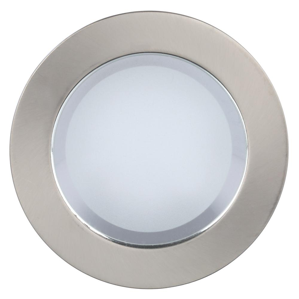 Commercial Electric 4 In Brushed Nickel Shower Recessed Lighting Trim