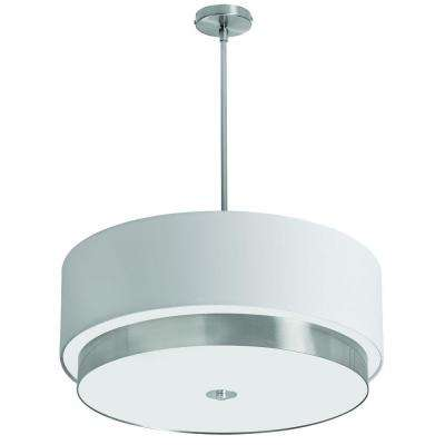 Larkin 4-Light Satin Chrome Large Pendant with White Linen Drum Shade