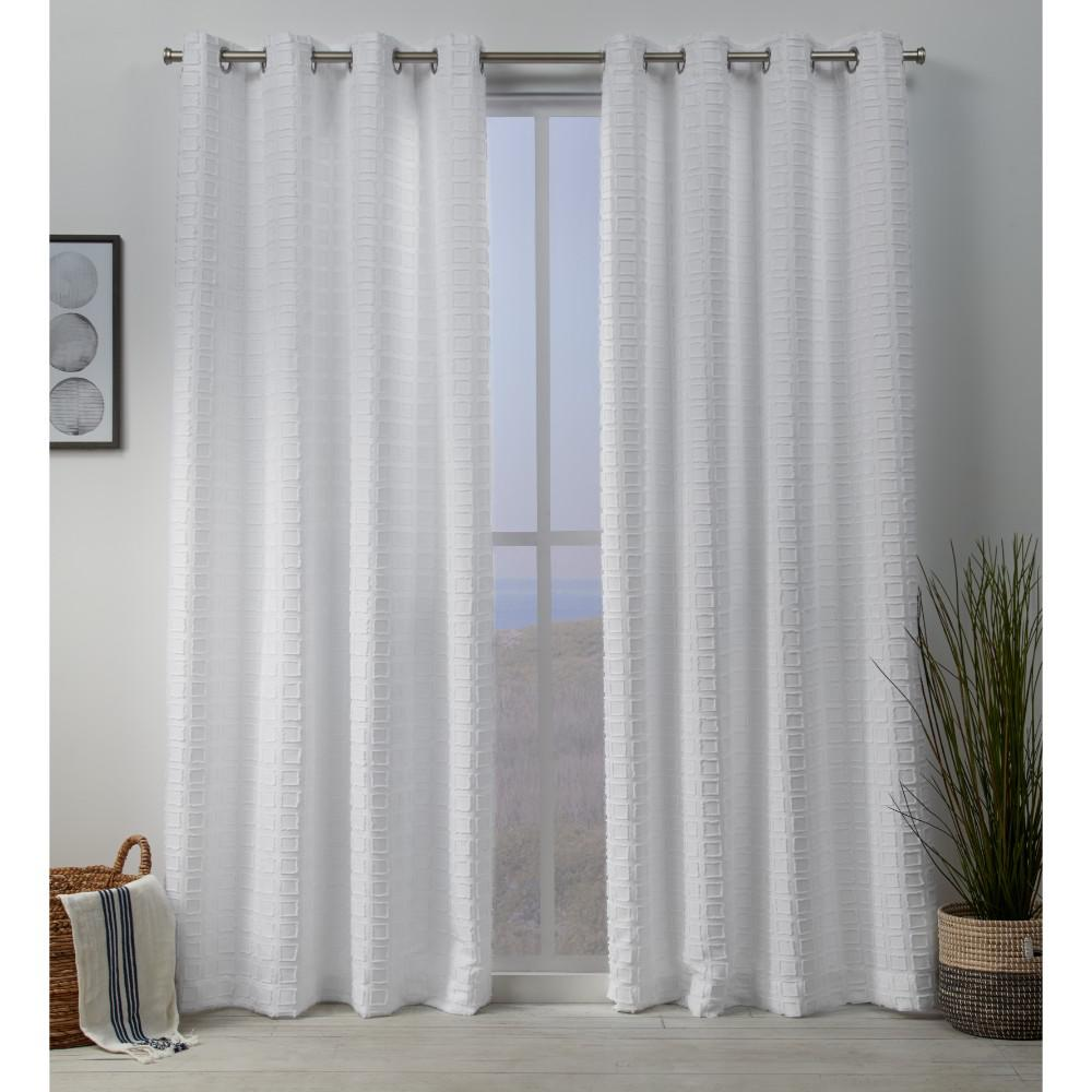 Exclusive Home Curtains Squared Embellished Grommet Top Curtain Panel Pair In White 54