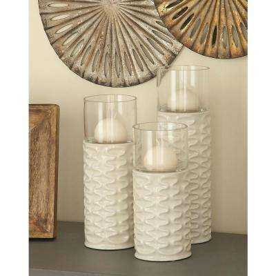 White Ceramic and Glass Ridged Candle Holders (Set of 3)