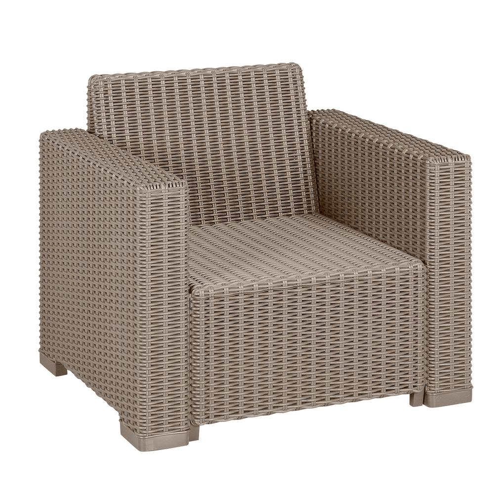 Keter California Cappuccino Plastic Wicker Outdoor Lounge Chair With Sand  Cushions