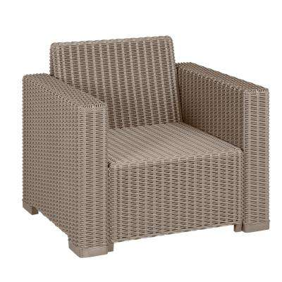 California Cappuccino Plastic Wicker Outdoor Lounge Chair with Sand Cushions