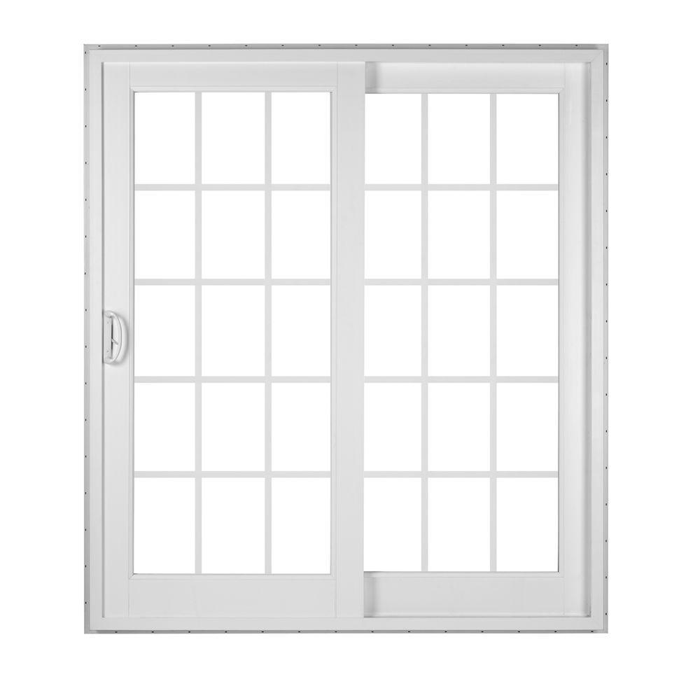 SIMONTON White 2 Panel French Rail Sliding Patio Door With ProSolar Low E  Glass