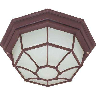 1-Light Outdoor Old Bronze Ceiling Spider Cage Fixture with Die Cast with Glass Lens