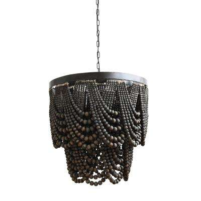 Collected Notions 3-Light Black Beaded Chandelier