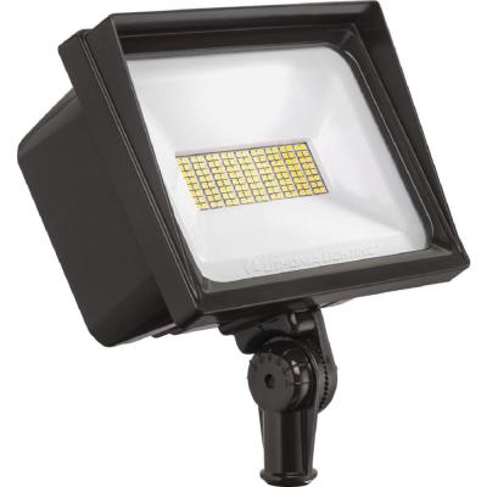 Contractor Select QTE Line Voltage 500-Watt Equivalent Bronze Knuckle Mount Integrated LED Landscape Flood Light