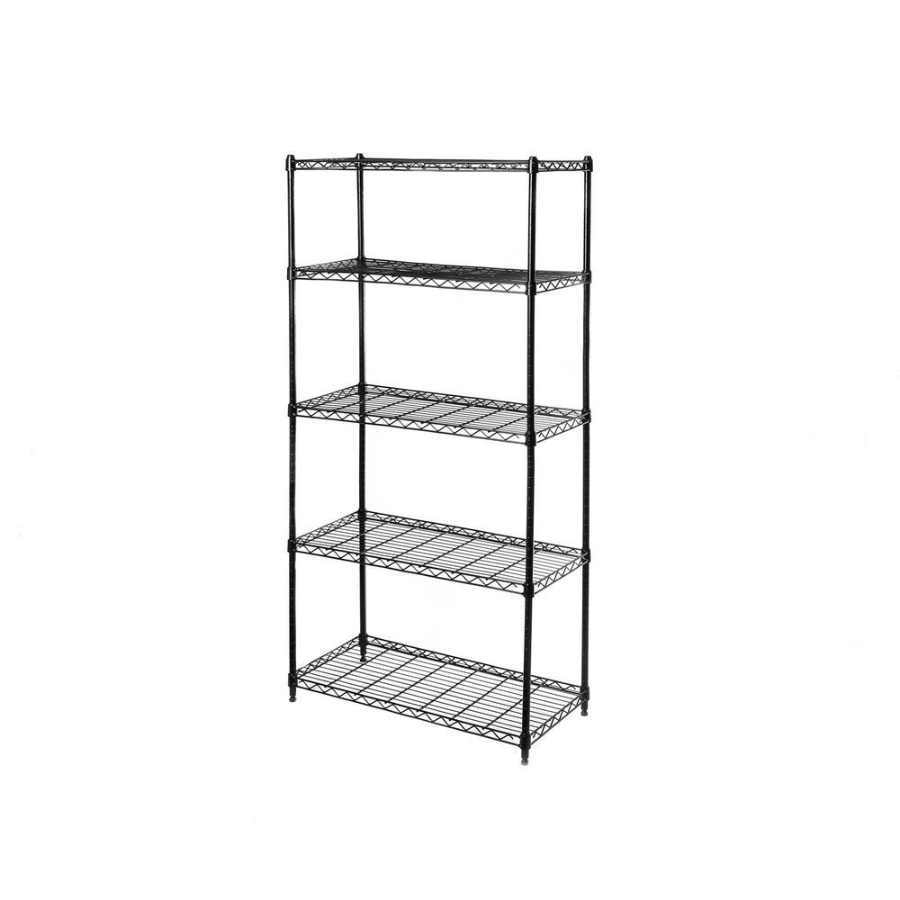 Black 5-Tier Steel Wire Garage Storage Shelving Unit (14 in. W x 60 in. H x 30 in. D)
