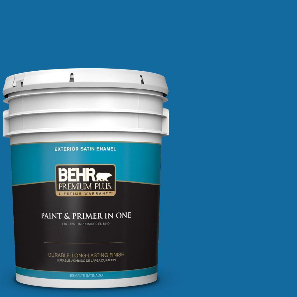 BEHR Premium Plus 5-gal. #P500-7 Cosmic Cobalt Satin Enamel Exterior Paint