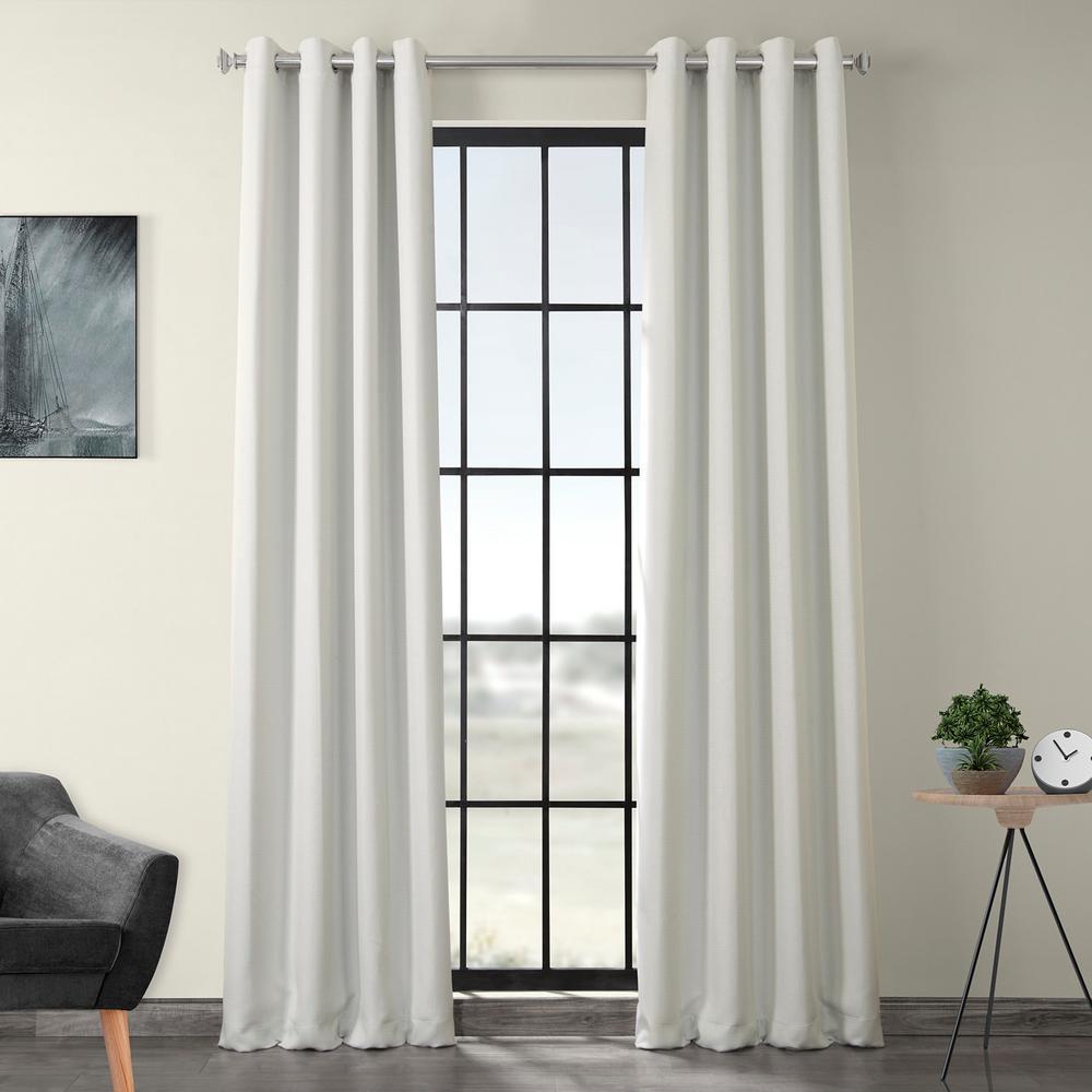 Oyster White Faux Linen Grommet Blackout Curtain - 50 in. W x 120 in. L
