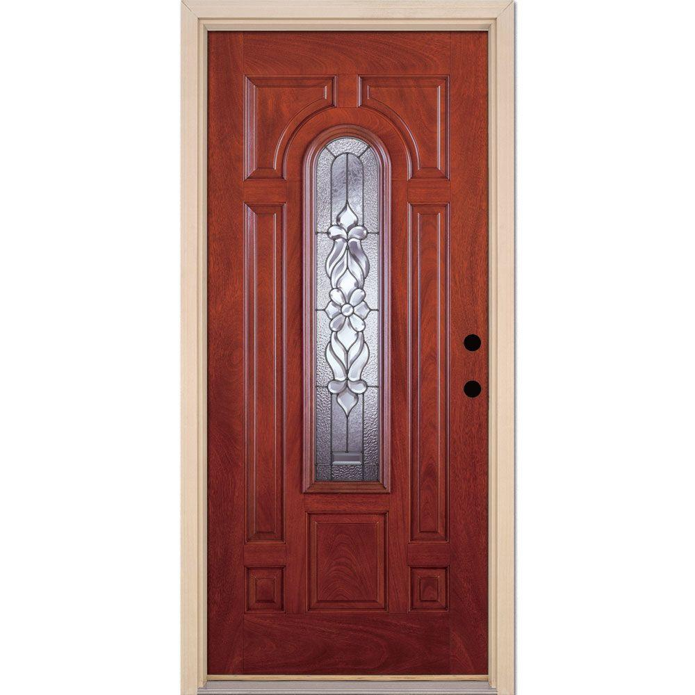 Feather river doors 37 5 in x in lakewood zinc center arch lite stained cherry mahogany - Painting fiberglass exterior doors model ...