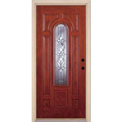 37.5 in. x 81.625 in. Lakewood Zinc Center Arch Lite Stained Cherry Mahogany Left-Hand Fiberglass Prehung Front Door