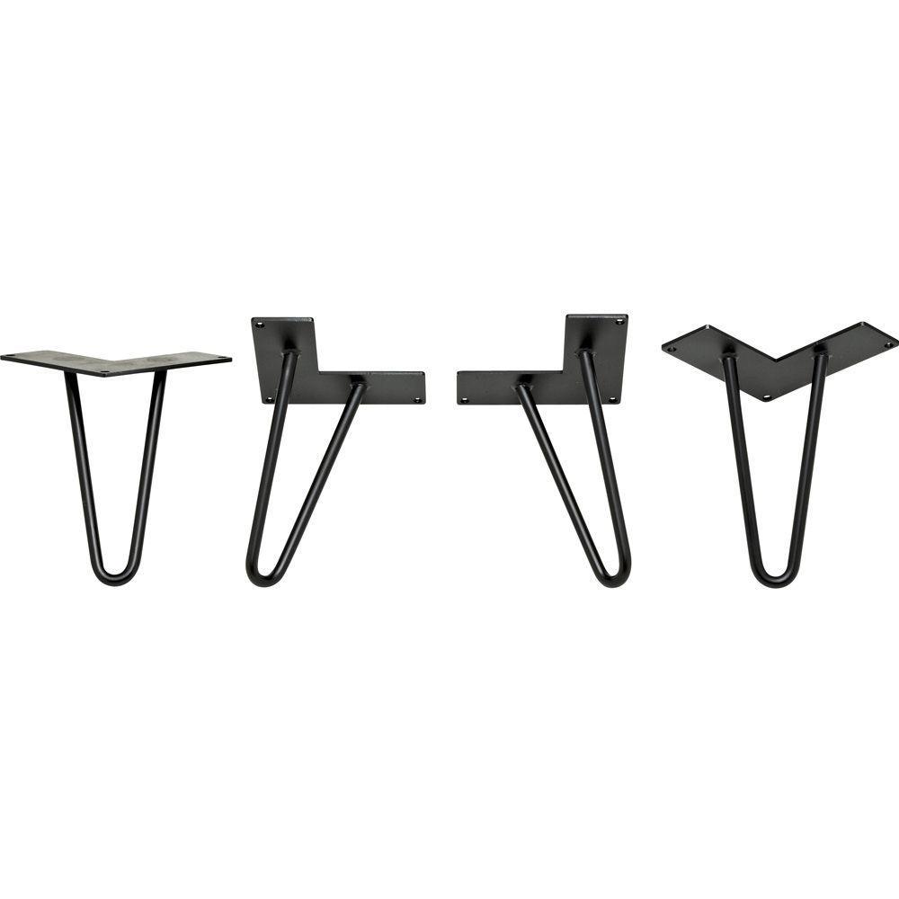 3/8 in. Dia. 6 in. Black Hairpin Legs (4-Pack)