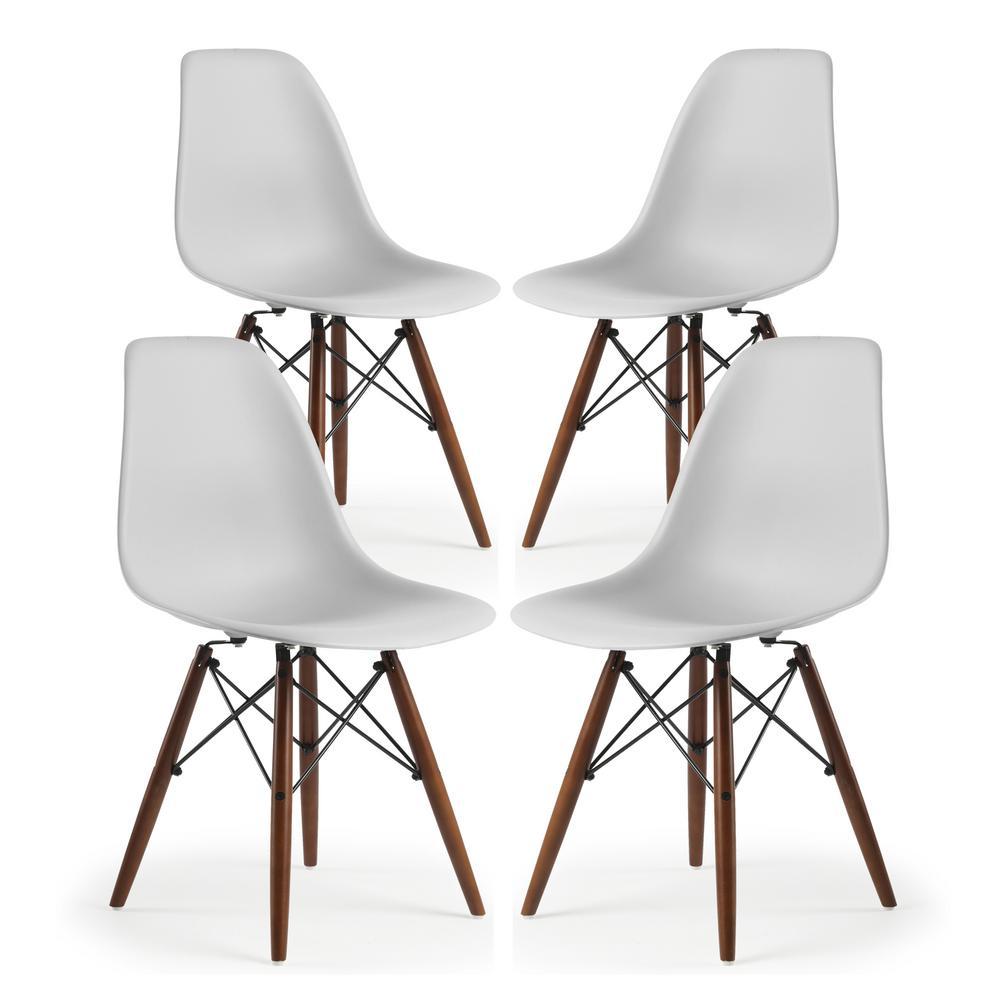 Vortex Side Chair Walnut Legs in Harbor Grey (Set of 4)