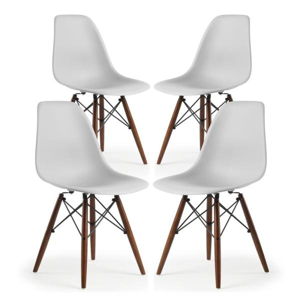Poly and Bark Vortex Side Chair Walnut Legs in Harbor Grey (Set of 4)