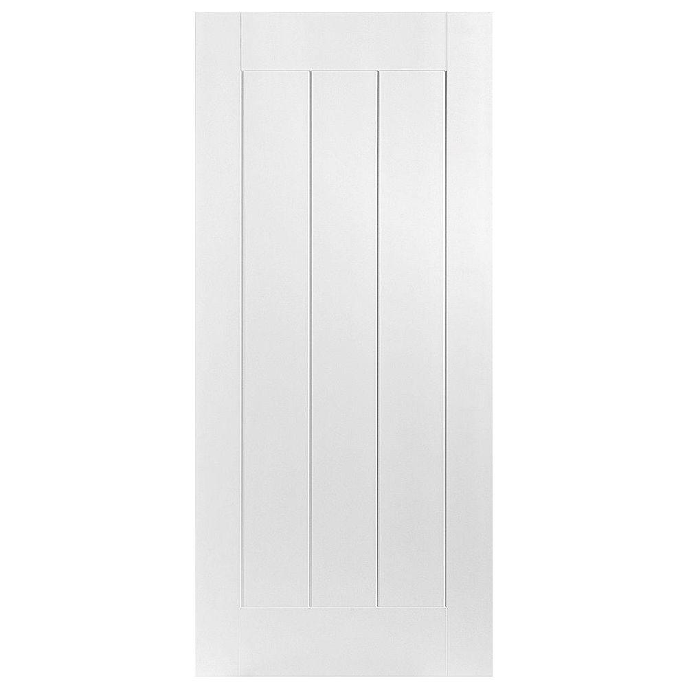 Masonite 32 in. x 80 in. Saddlebrook Smooth 1-Panel Plank Hollow Core Primed Composite Interior Door Slab