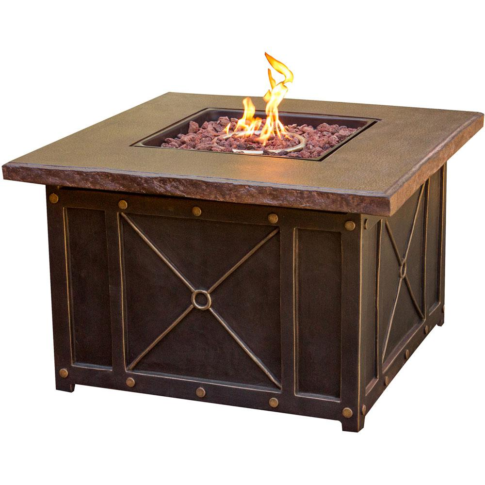 Hanover 40 in. x 23.62 in. Square Gas Fire Pit with Durastone Top
