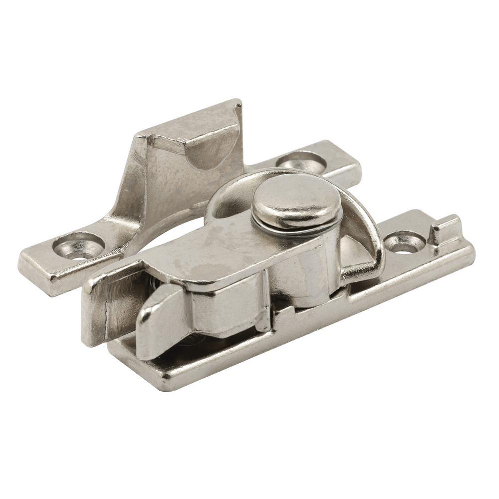 Sash Lock and Keeper with Screws Child Safe Satin Nickel