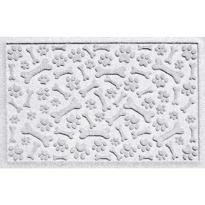 White 24 in. x 36 in. Paws and Bones Polypropylene Pet Mat