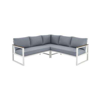 West Park White Aluminum Outdoor Patio Sectional Sofa Seating Set with CushionGuard Steel Blue Cushions