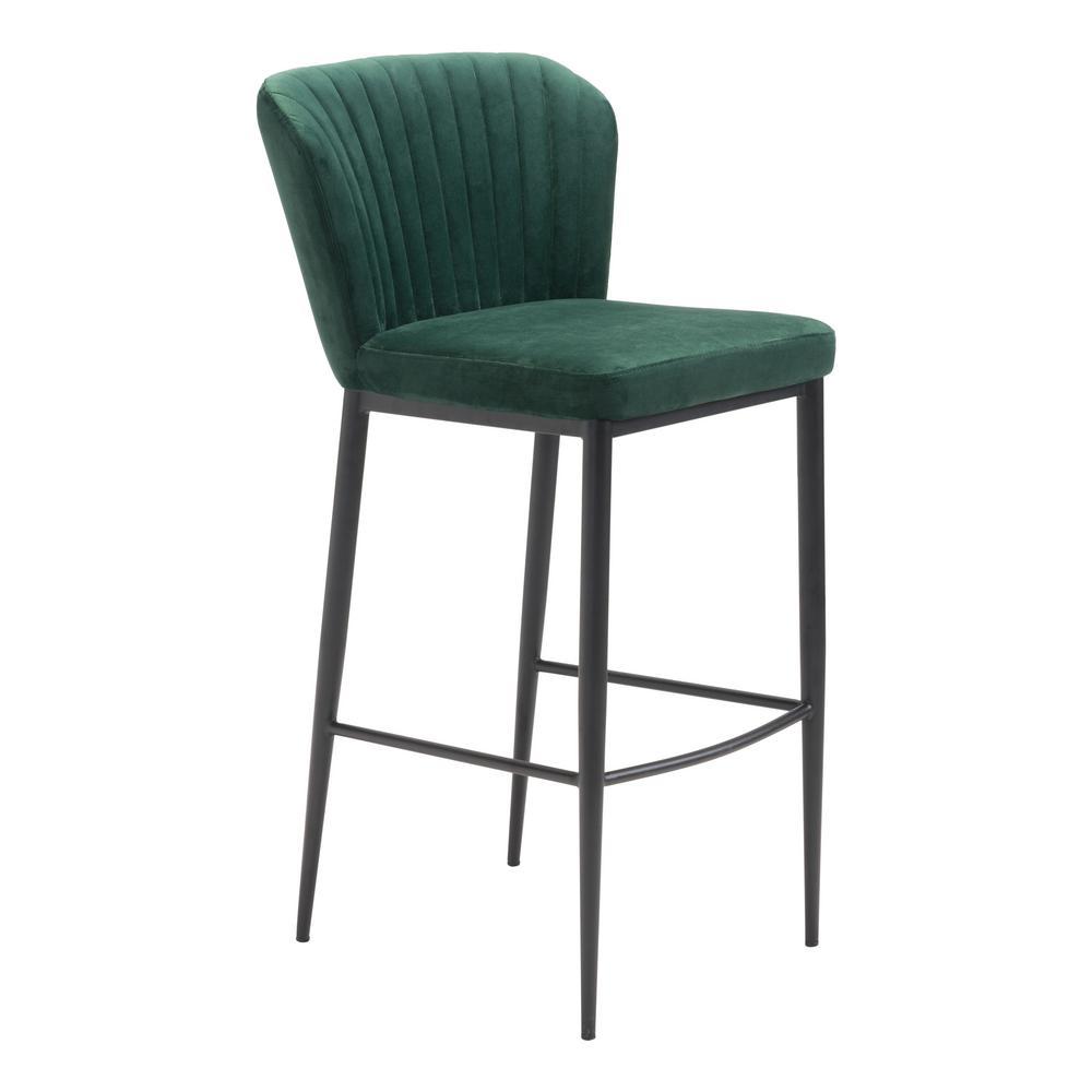 Tolivere 41.3 in. Green Velvet Bar Chair (Set of 2)